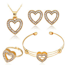Gold Plated Party Gift Rhinestone Necklace Open Bangle Earrings Ring Jewelry Set