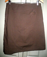 Cue 10 12 Brown Buckle Up Panel Uneven Hem Cotton Blend A Line Skirt