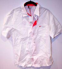 GSUS INDUSTRIES White Pink Logo Short Sleeve Dress Button Shirt Cotton Large