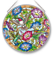 "AMIA STAINED GLASS SUNCATCHER 6.5"" ROUND MORNING GLORIES HUMMINGBIRDS #42529"