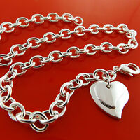 NECKLACE CHAIN GENUINE REAL 925 STERLING SILVER S/F SOLID HEART CHARM PENDANT