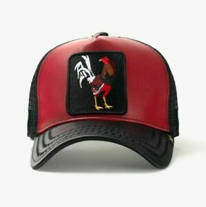 GOLD STAR - Brand New COCK Rooster Black/Burgundy leather FIGHTING TRUCKER HAT