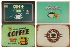 Set of 4 Retro Vintage Looking Coffee Shop Coasters Table Placemats