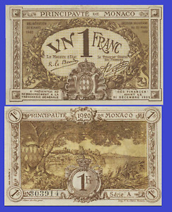 Monaco 1 francs 1920 UNC - Reproduction