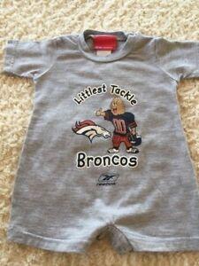 Denver Broncos Boys Gray Short Sleeve Shorts Romper LITTLEST TACKLE 12 Months