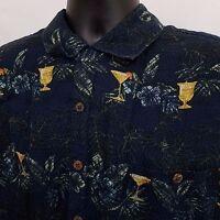 SUMMA Hawaiian Shirt Men's Size Extra Large XL Blue Floral Short Sleeve Linen