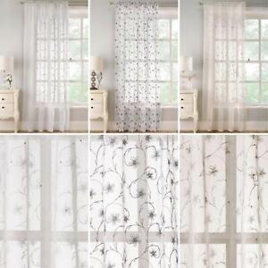 Floral Voile Panel Belle Embroidered Sequin Sparkle Slot Top Panels Sheer Voiles