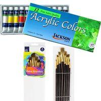 RICHESON 12 Colours x12ml Acrylic Paint Tubes Set + 8 Paint Brushes Kit Painting