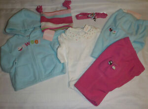 GYMBOREE Baby Girls Size 0-3-6 Month Sweet Tooth Fleece Pants Hoodie Hat Outfit