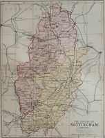 1877 Victorian map of Nottinghamshire. Newark, Mansfield. 140 years old. 1121