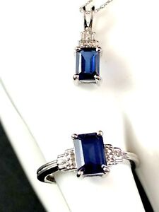 DAZZLING 10K WHITE GOLD CHAIN NECKLACE SAPPHIRE DIAMOND PENDANT ACCENT RING SET