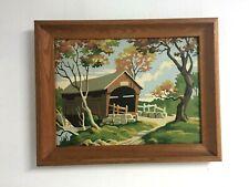 Vintage Paint By Numbers Covered Bridge Fall Season Framed Art