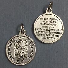 "Archangel Raphael Protection Medal Pendant with Prayer Religious Catholic 3/4"""