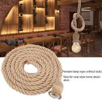 3m E27 Retro Ceiling Lamp Bulb Base Hemp Rope Chandelier Fixture Vintage Pendant