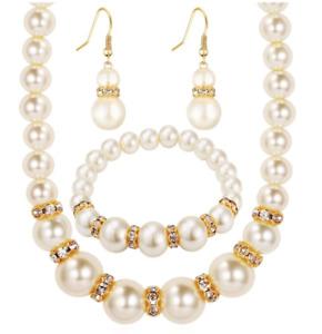 African Beads Luxury Pearl Zirconia Gold Earrings Necklace Bracelet Set Woman UK