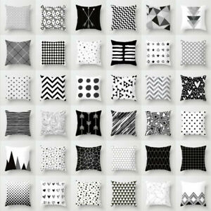 New Geometric Cushion Cover Black And White Polyester Throw Square Pillow Case