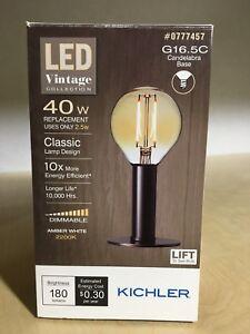 KICHLER LED LIGHT BULB VINTAGE COLLECTION 40W G16.5C CANDELABRA BASE AMBER WHITE
