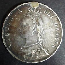 C056-69 # GREAT BRITAIN   SILVER, VICTORIA 2ND POTRAIT, 1/2 CROWN, 1890,KM#764,F