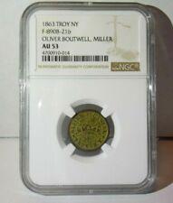 1863 Troy Ny Oliver Boutwell Miller Civil War 1863 New York Token Ngc Au53 Au 53