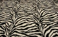 "Upholstery Faux fur Zebra Large White black velboa fabric 58"" wide fabric"