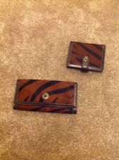 coach Brown And Black Animal Print Faux Fur card holder And Matching Purse
