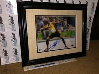 USAIN BOLT OLYMPIC GOLD SIGNED FRAMED MATTED 8X10 PHOTO TO 11X14-BECKETT COA BAS