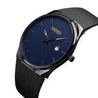 SKMEI Men's Minimalist Watch Stylish Ultra Thin Dial Quartz Calendar Wristwatch