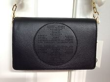 NWT TORY BURCH Kipp Clutch Crossbody Bag Purse Black Gold Leather AUTHENTIC!