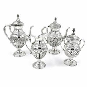 Servizio da Caffè e da Tè in Argento 800 Stile Impero Cesello Foglie Quattro Pez