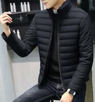 Men Winter Stand-Collar Zip Cotton Down Jacket Warm Short Slim Outwear Coats