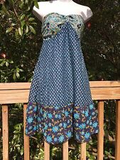 New_Boho Tiered Cotton Strapless Blue Floral Print Dress_Sizes S/M, M/L