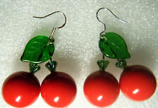 Artist Made RED LUCITE CHERRY Pierced EARRINGS CZECH GLASS LEAF 925 Sterling