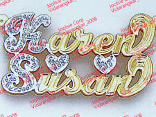 PERSONALIZED DOUBLE PLATE TWO 2 NAME s COUPLE  NECKLACE CHAIN AnyNames US Ship