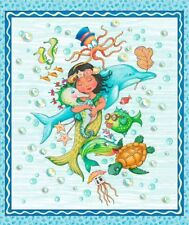 "Fabric PANEL Quilting Treasures ~ MERMAID MERRIMENT ~ Mary Engelbreit  36""x45"""