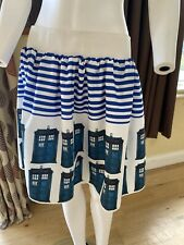Doctor Who Tardis Print Navy And White Skirt Size 14/16