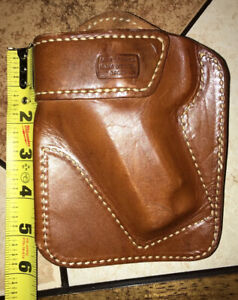 """MILT SPARKS Leather Gun Holster Brown Leather 90s Made 3-4"""" Semi Auto"""