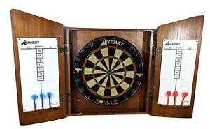 Vtg Accudart Dart Board & Wood Cabinet 6 Darts Rare Dartboard BULL Spins 1977