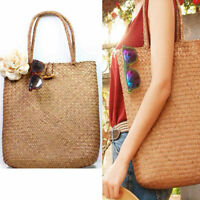 Fashion Lady Beach Bag Straw Large Woven Handbag Casual Flower Tote Shopper Bag