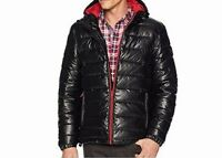 Cole Haan Mens Jacket Black Size Large L Puffer Full-Zip Hooded $275 #106
