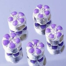 5Pcs Flower Gold Filled Purple Enamel Beads Lot Fit European Bracelet Large Hole