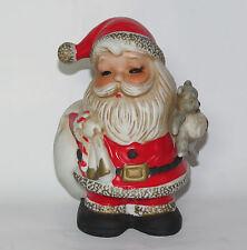 Vintage Homco Home Interiors # 5610 Santa Claus Bisque Coin Bank with Teddy Bear