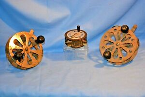 3 OLD VINTAGE FISHING ROD FLY REEL 2 PFLUEGER 1-AF MEISSELBACH COLLECTIBLE LURE