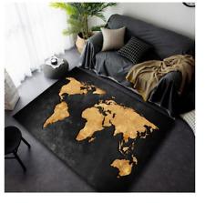 NEW FACTORY DIRECT Gold & Black World Map CARPET RUG 160 X 120CM