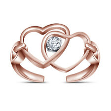 10k Rose Gold Fn Vvs1 Diamond Double Heart Wrap Adjustable Toe Ring Beach Jewelr