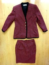 Jacques Vert Ladies Vintage Red Check Two Piece Jacket Skirt Suit Size UK 14/16