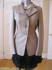 $4.5K NWOT CHIC & ELEGANT AKRIS SUMPTUOUS Beige/Tan LASER CUT LEATHER Jacket