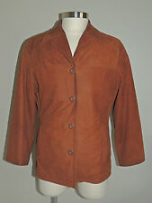 WOMENS WILSON RUST BROWN 4 BUTTON SOFT LEATHER JACKET SIZE MED