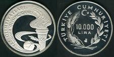 1988 Turkey Large Silver Proof 10000 lira Olympic Torch