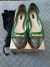 MIMCO Emerald Green Leather Salvation Ballet Flats Mary Janes Shoes Size 39