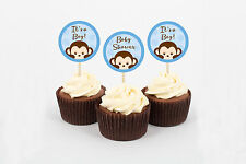 Pop Monkey Blue Cupcake Toppers Party Favor Tags Printable